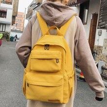 Dcimor mochila feminina impermeável multi bolso, de nylon, de viagem, bolsa de escola para adolescentes