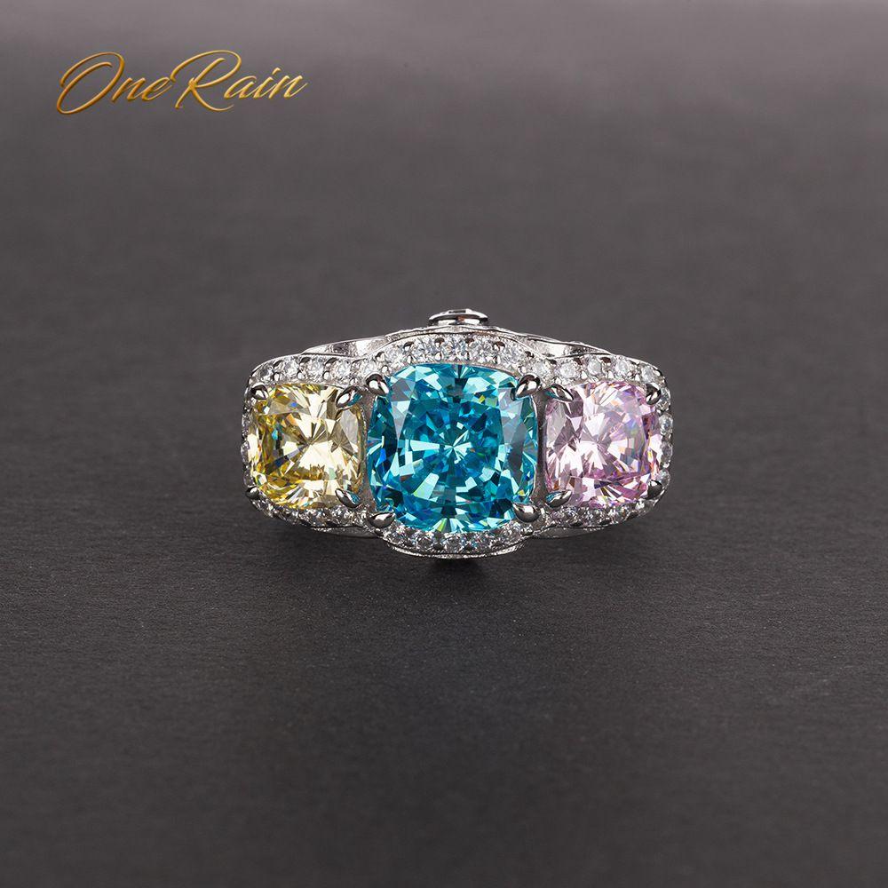 OneRain Vintage 100% 925 Sterling Silver Aquamarine Sapphire Citrine Diamonds Gemstone Wedding Engagement Women Men Ring Jewelry
