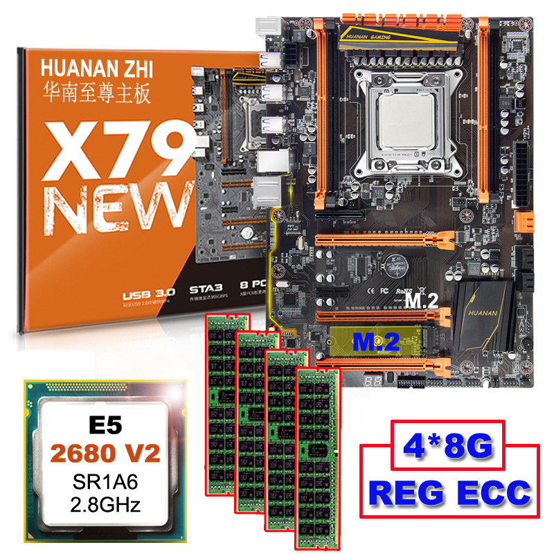 Desconto de computador hardware HUANAN ZHI Deluxe desconto X79 motherboard com CPU Xeon M.2 NVMe E5 2680 V2 SR1A6 RAM 32G (4*8G) RECC