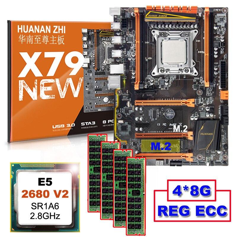 Discount matériel informatique HUANAN ZHI Deluxe remise X79 carte mère avec M.2 NVMe CPU Xeon E5 2680 V2 SR1A6 RAM 32G (4*8G) RECC