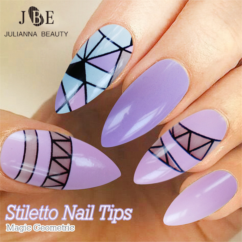 ᗐ24pcs/ Box False Nails With Glue Long Sharp French Nail Art Tips ...