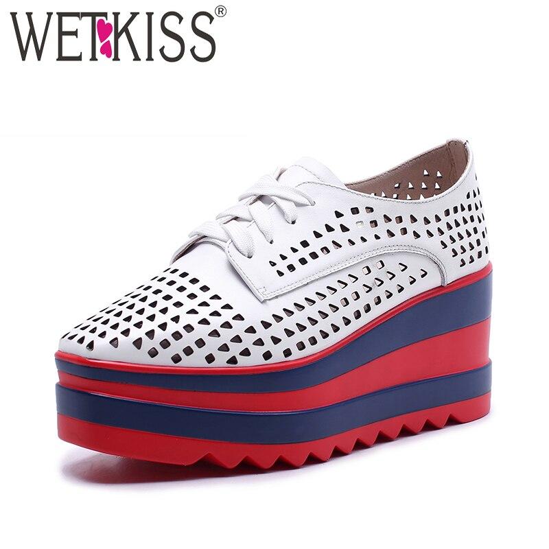 Фотография WETKISS Fashion Casual Flats Women Square Toe Wedges Genuine Leather Lace Up Footwear Platform Cutout Summer Sneaker Shoe Ladies