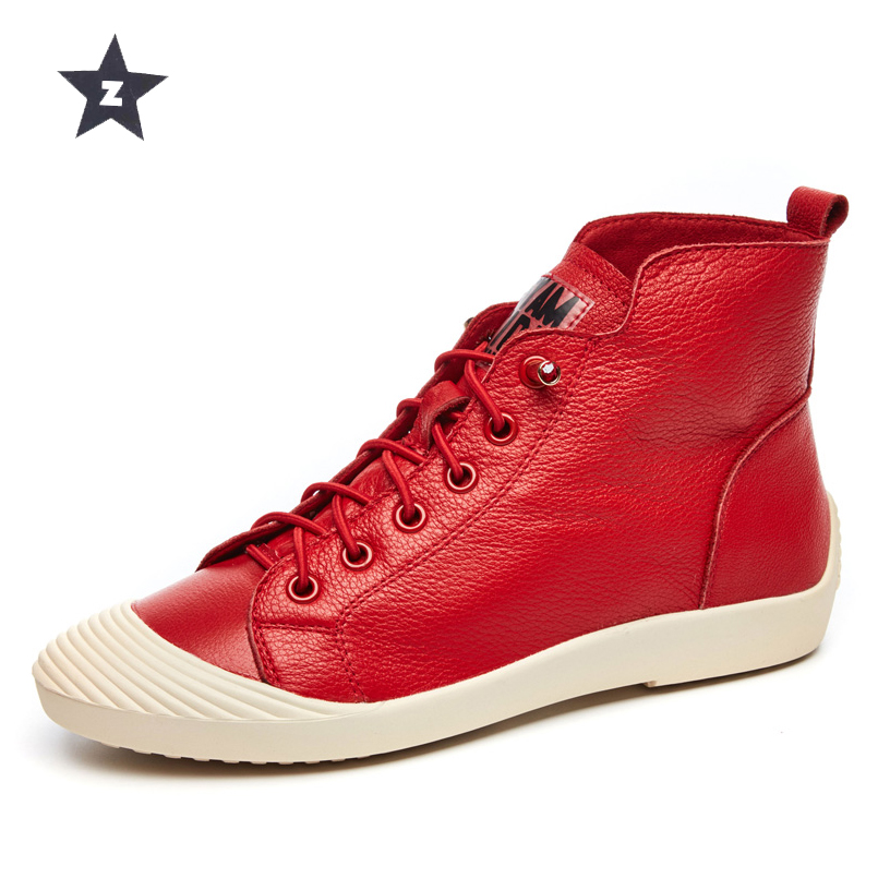 Z ankle boots women leather shoes female fashion casual booties high top shell head lace up