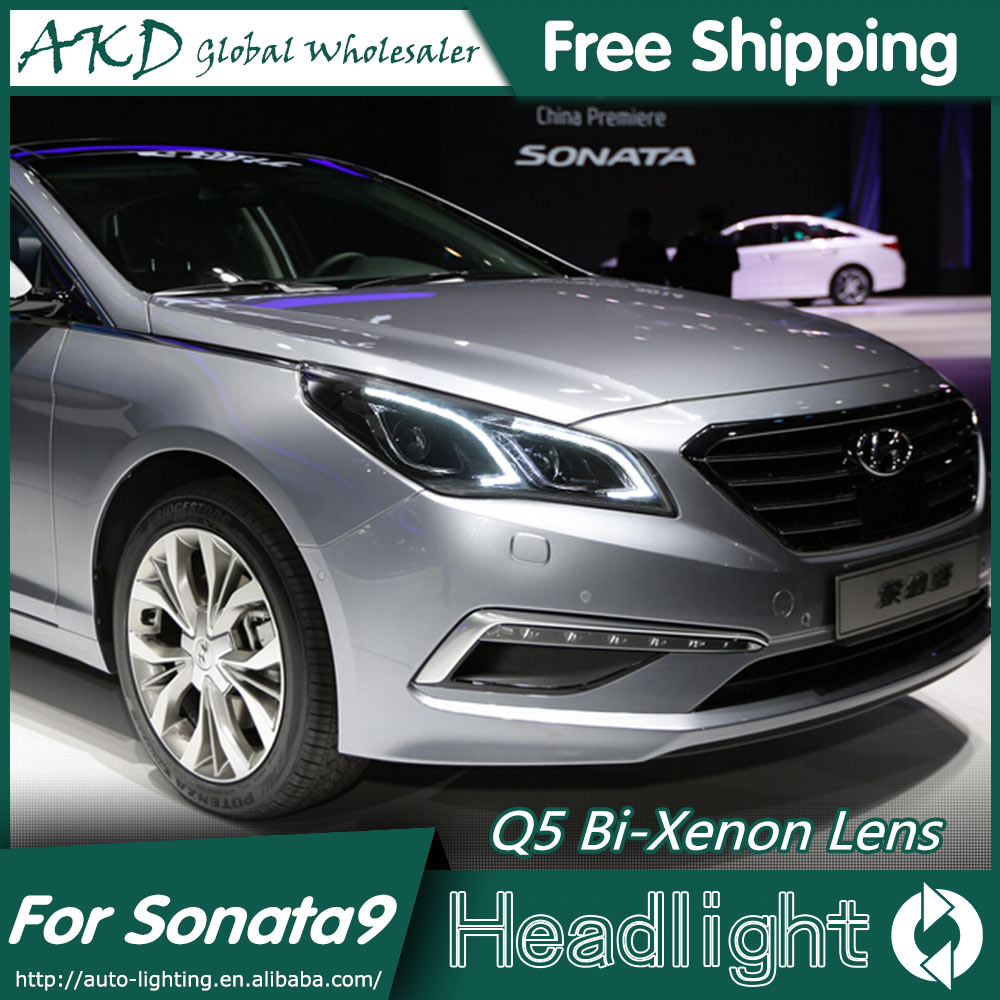 AKD Car Styling for Hyundai Sonata 9 Headlights 2015 New Sonata LED Headlight LED DRL Bi Xenon Lens High Beam Parking Fog Lamp new headlight headlamp left right for hyundai sonata 8 head led light bar drl 2011 2015 h7 bi xenon