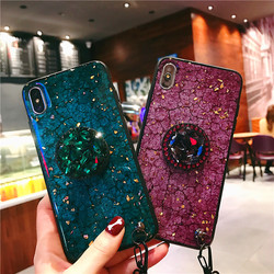 Phone Case For iPhone 8 7 6 6s Plus Case iPhone X XS Max XR Luxury Glaring Sparkle Bling Diamond Stand lanyard Hard PC+TPU Cover 12