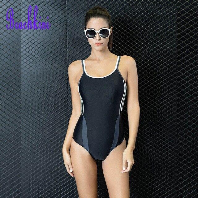 94edc32f6f7 Women One Piece Bodysuit Swimwear Sports Stripes Swimsuit Racing Sexy  Female Athletics Straps Bathing Suit 2019 New Monokini