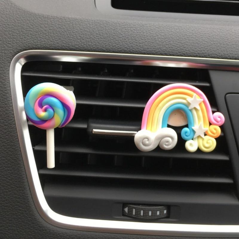 Ladies/Girls Car Perfume Auto Accessories Car Shape Solid Scent Air Freshener Cute Lollipop Rainbow Air Socket Jewelry