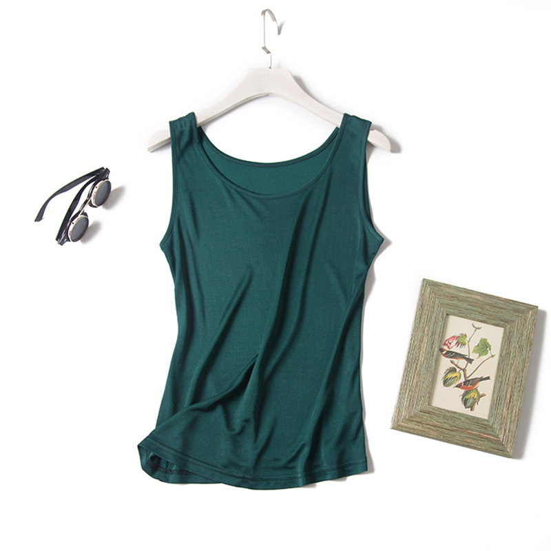 <font><b>100</b></font>% <font><b>Silk</b></font> Tank <font><b>Top</b></font> Women High Quality Elastic Double Knitted Fabric Solid 6 Colors Plus Sizes Casual Basic Clothing Fashion 2019 image