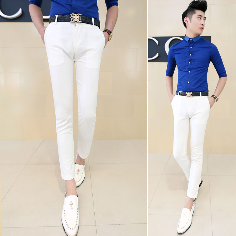 Aliexpress.com : Buy Summer Men Dress Pants Ankle Length All match ...