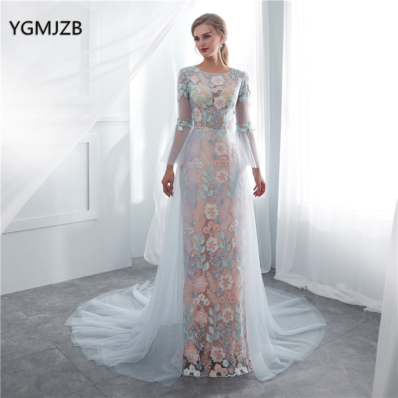 abendkleider 2018 Elegant Lace   Evening     Dresses   Mermaid Long Sleeves with Train Women Formal Prom   Evening   Gown robe de soiree