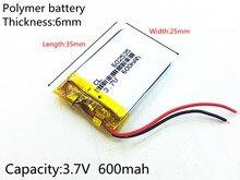 Polímero para Tacógrafo Fones de Ouvido 3.7 V 600 Mah Recarregável LI Bateria Li-ion Modelo 582535 Sp5 Mp3 Mp4 Gps Psp 602535 062535