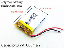 3.7V 600mAh Rechargeable li Polymer Li-ion Battery For headphones tachograph MODEL 582535 SP5 mp3 mp4 GPS PSP 602535 062535