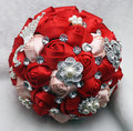 Chinese Style Red Beaded Crystal Wedding Bouquets Wedding Flower Bouquet Elegant Bridal Hand Holding Buque De Noiva De Perola