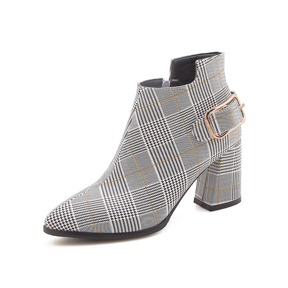 Women's Boots, Fashion Plaid Pointed Toe High Heels, Winter Ankle Boots 16