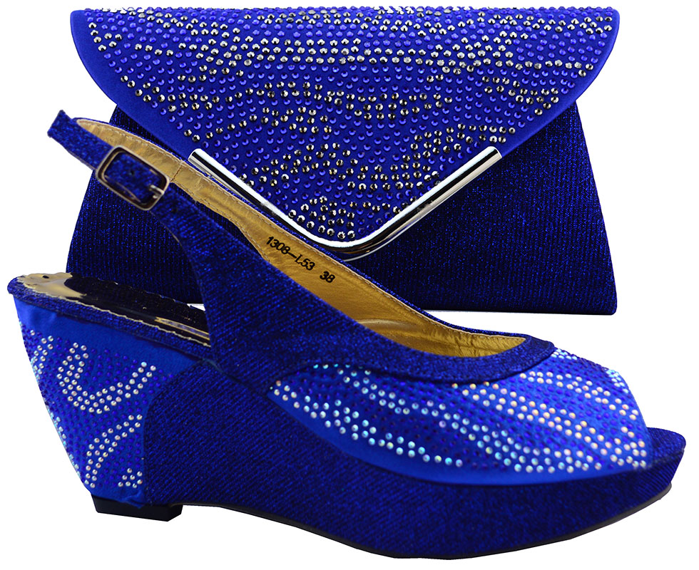 Royal Blue Party Wedding Shoes And Bags To Matching African Wedges Women Shoes Fashion Italy