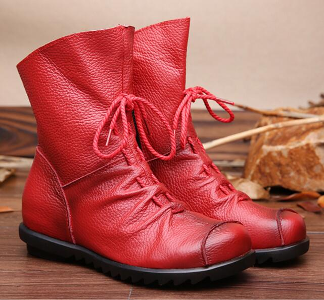 2017 New Vintage Style Genuine Leather Women Boots Flat Booties Soft Cowhide Women's Shoes Front Zip Ankle Boots zapatos mujer front lace up casual ankle boots autumn vintage brown new booties flat genuine leather suede shoes round toe fall female fashion