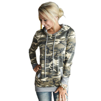 Women Camouflage Printed Hooded T Shirts Female Long Sleeve Autumn Spring Hooded Tops With Pockets Deco