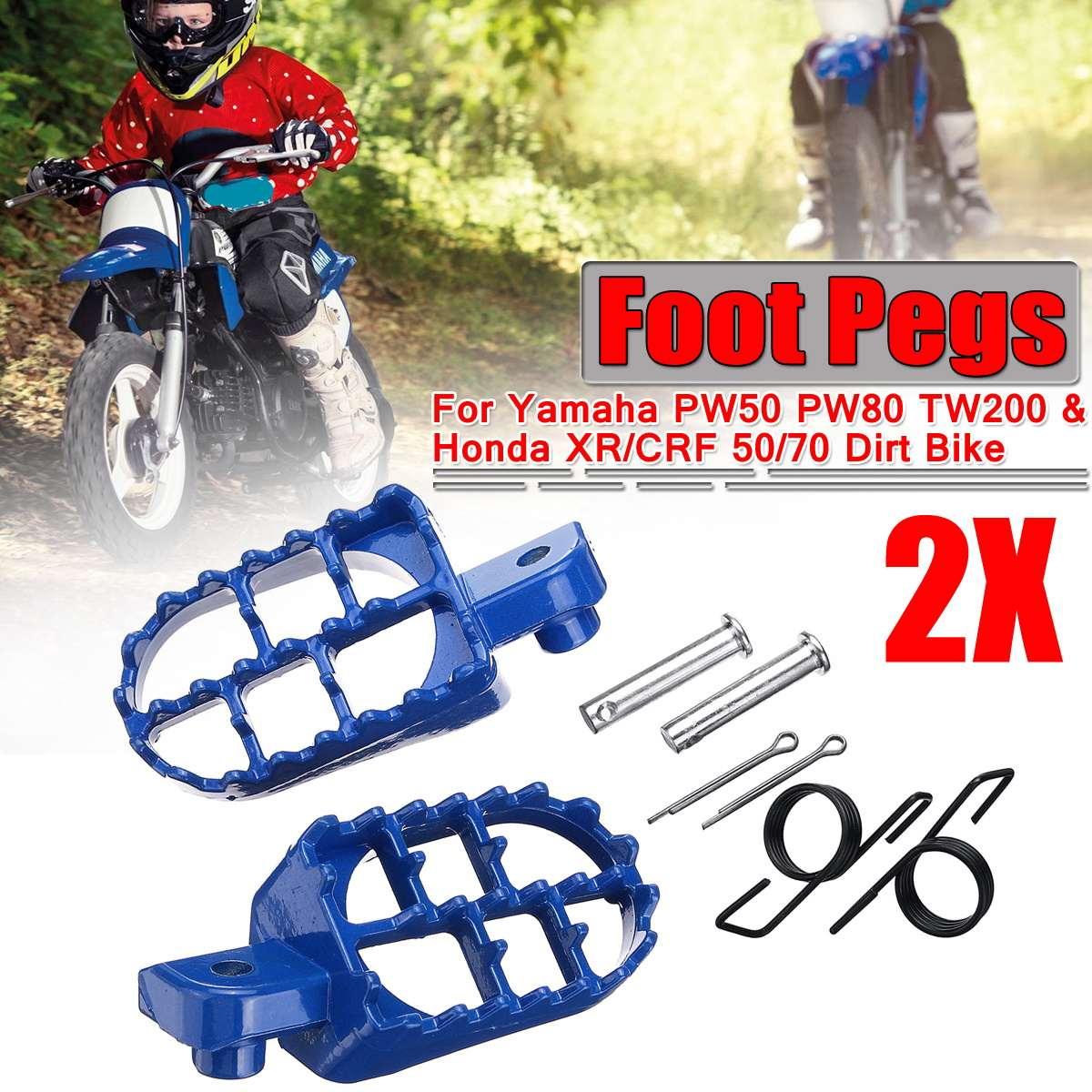 A Pair Universal Motorcycle Foot Pegs Pit Dirt Bike Motorbike Foot Rests footrest For Yamaha PW50 PW80 TW200 For Honda <font><b>XR</b></font>/CRF image