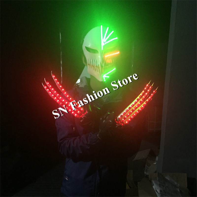 MD5 Ballroom dance led costumes red light gloves glowing luminous laser mask party dj bar wears stage led mask laser man show