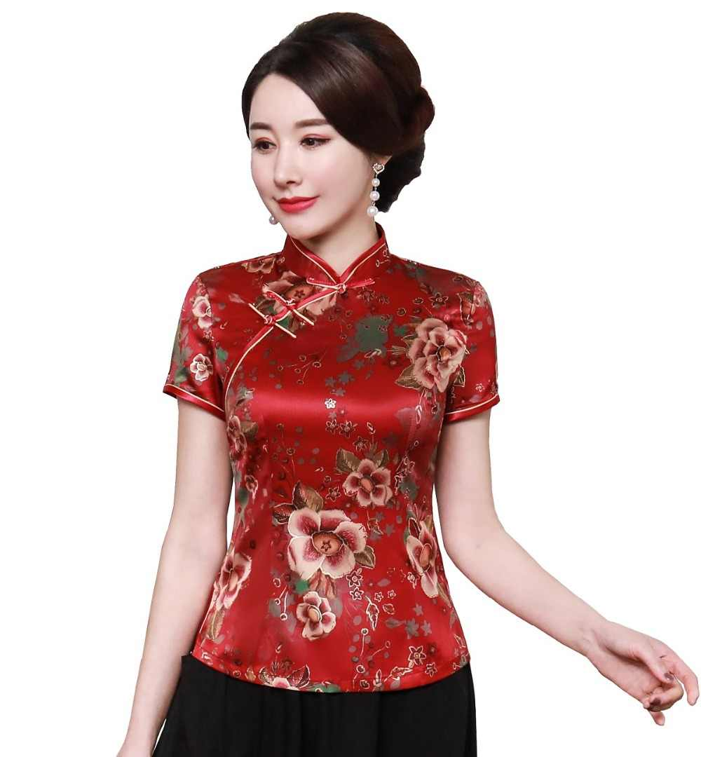Shanghai Verhaal Cheongsam Shirt Qipao Top Korte Mouw Chinese Traditionele Tahi Chi Top Faux Zijde Chinese Blouse Voor Vrouw M-5XL