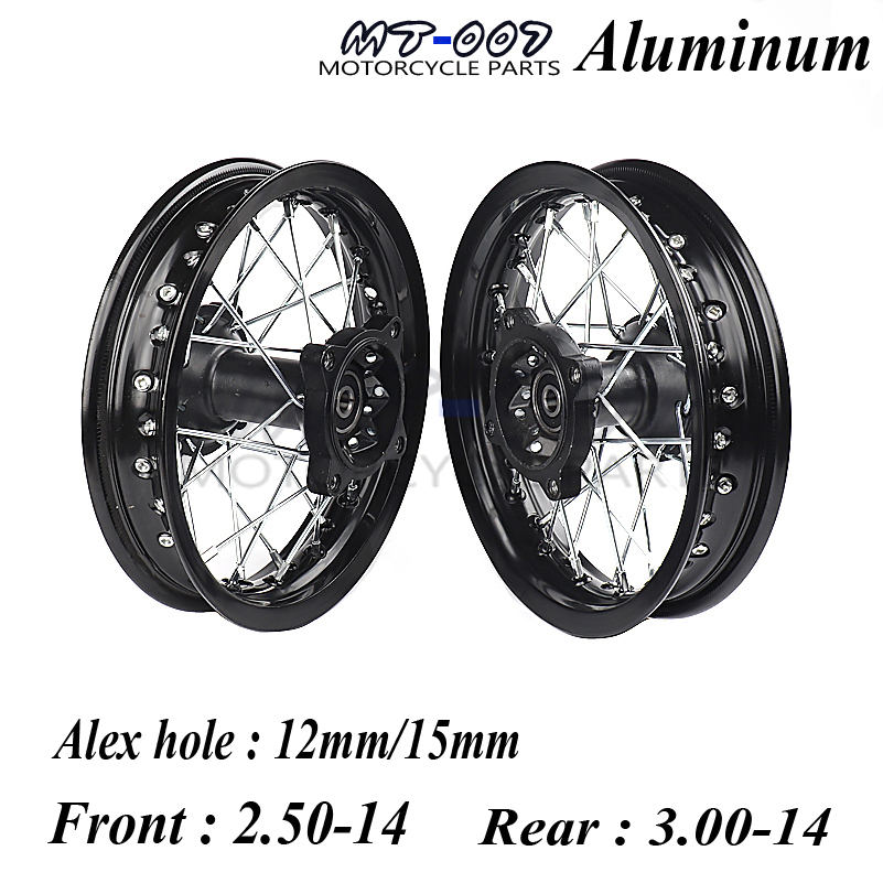 Off Road 14 Inch Dirt Pit bike Front Rear Wheels Set 2.50-143.00-14 Alloy Rim For KAYO BSE Apollo Xmotos Racing Supermoto 110 125cc dirt pit bike seat saddles bse 140 kayo off road motorcycle motocross for kawasaki klx bbr