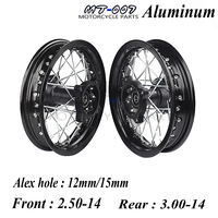Off Road 14 Inch Dirt Pit bike Front Rear Wheels Set 2.50 143.00 14 Alloy Rim For KAYO BSE Apollo Xmotos Racing Supermoto
