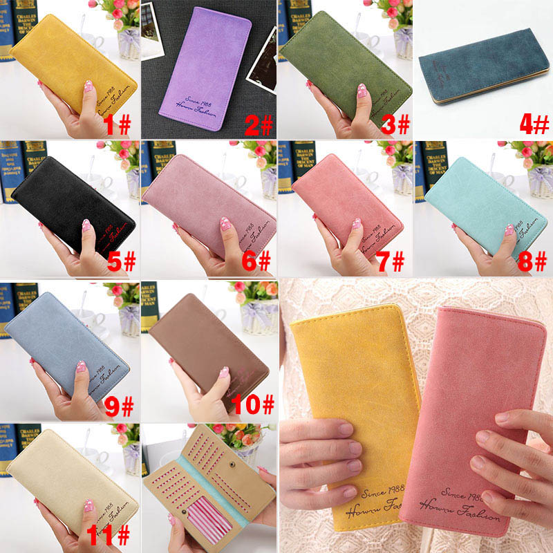 New Fashion Vintage Women Purse Female Slim Long Wallet Card Holder Bag Matte Leather Wallets  LBY2017