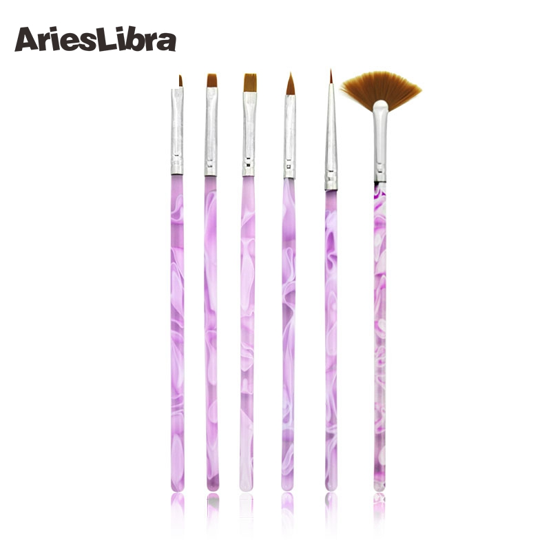 AriesLibra 10packs/set High Quality Purple Spiral Makeup Brush Nail Art Painting Draw Pen Brush Tips Tools Set UV Gel Brush Set 15 in 1 makeup art design painting nail brush pens set deep pink silver