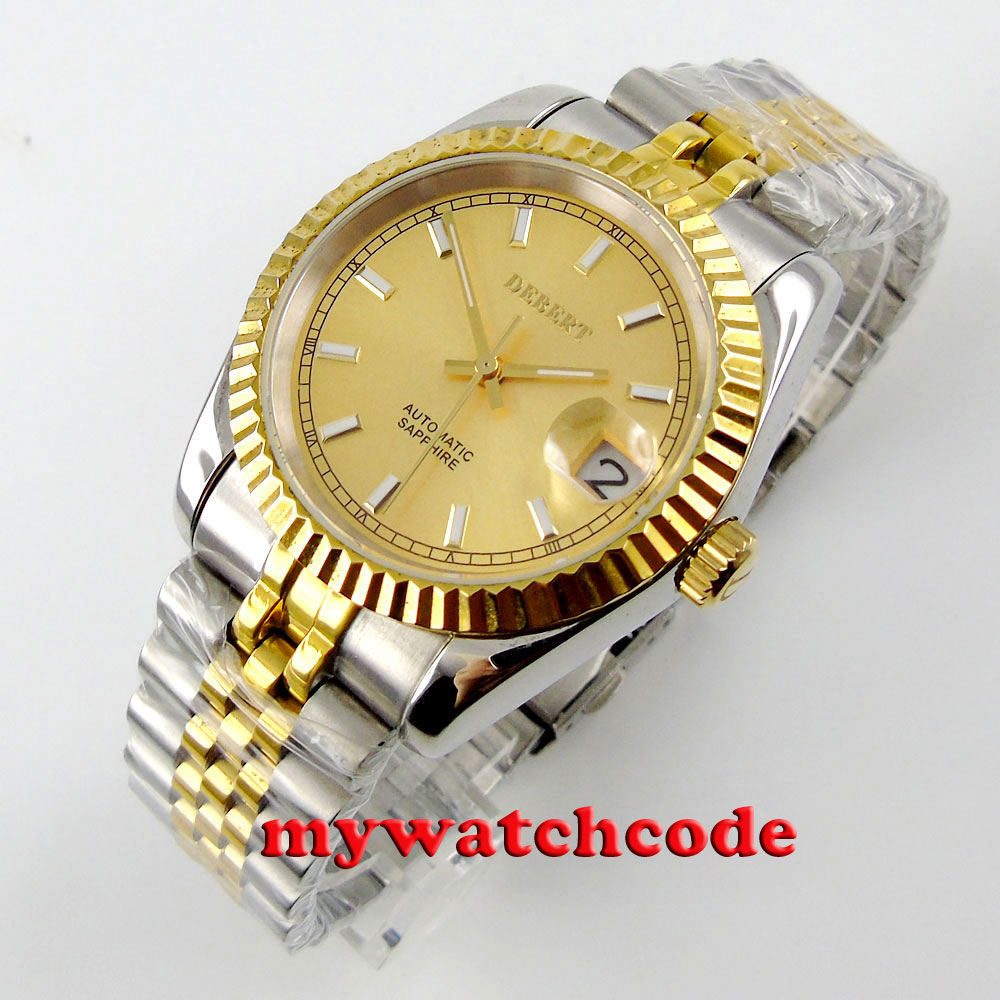 36mm debert yellow golden dial luminous 21 jewels miyota Automatic mens wrist Watch 36mm debert golden dial 21 jewels miyota automatic diamond mens watch d11