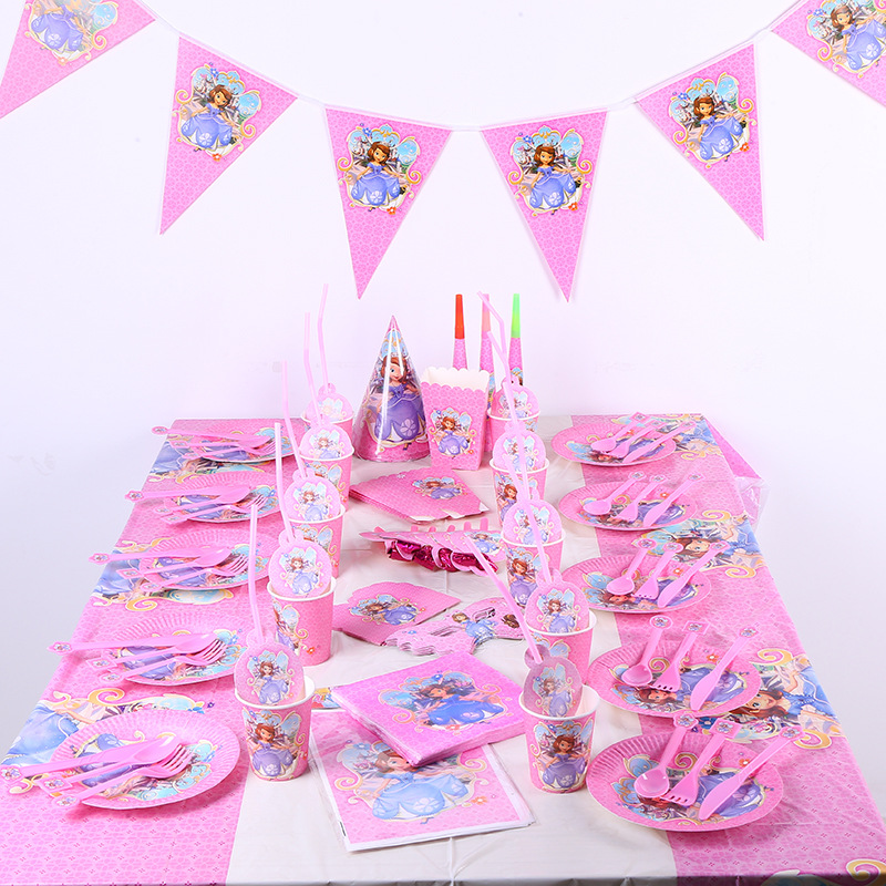 82pcs <font><b>princess</b></font> Sofia Kids Birthday <font><b>Party</b></font> Plates cups Decoration <font><b>Princess</b></font> Sophia theme <font><b>Party</b></font> Supplies Baby Birthday <font><b>Party</b></font> Pack image