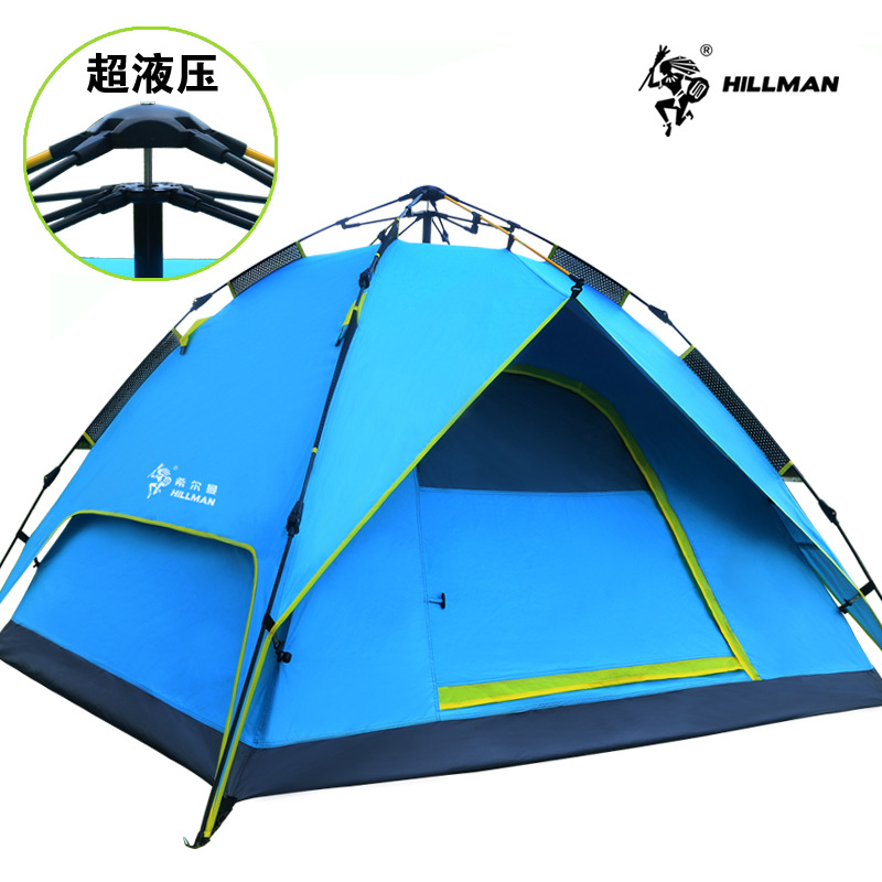 Hillman automatic tent outdoor 3-4 double deck Park camping family tent 2use & 3use(add one set inner pole & floor mat) camping tent outdoor camping double aluminum pole tent camping family clear inflatable tent camping shelter personalized canopy