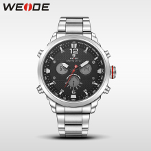 WEIDE casual genuine men watch luxury brand sport digital watch stainless steelin quartz watches analog water resistant clock