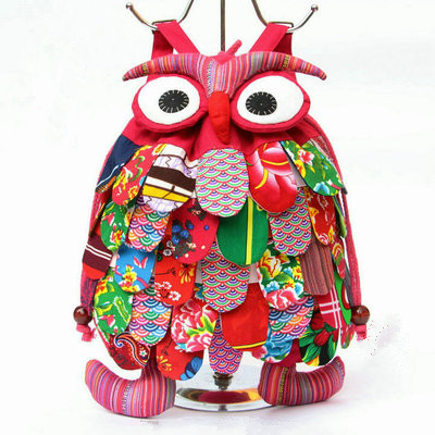 Fashion Children Gifts New Versatile Appliques Owl Backpack!hot Big Girl&boy's Backrack All-match Canvas String&cover Backpacks
