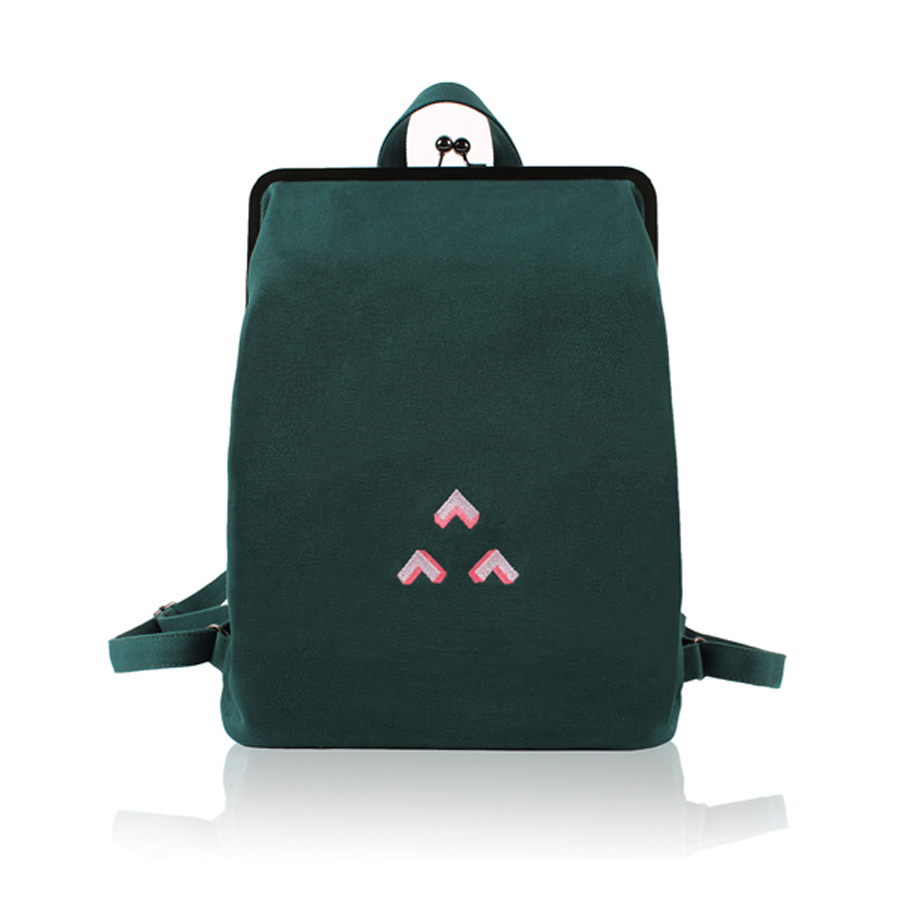YIZISTORE Fresh Embroidery Canvas Backpacks With Metal Frame Clasp For Teenage Girls(FUN KIK)