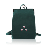 Canvas Backpacks With Metal Frame And Hasps And Embroidery Logo For Girls In Artistic Style Designed