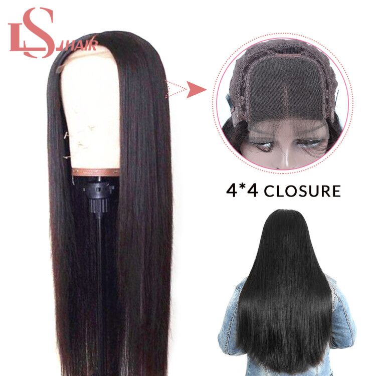 LS cheveux raides avant de lacet perruques de cheveux humains pour les femmes pré plumé brésilien Remy perruque de cheveux 4*4 noeuds blanchis bébé cheveux livraison gratuite