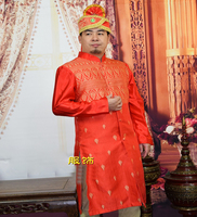 India Traditional Clothing Stand Collar Male Long Sleeved Robe Gown Dress Big Red Stage Hotel Doorman