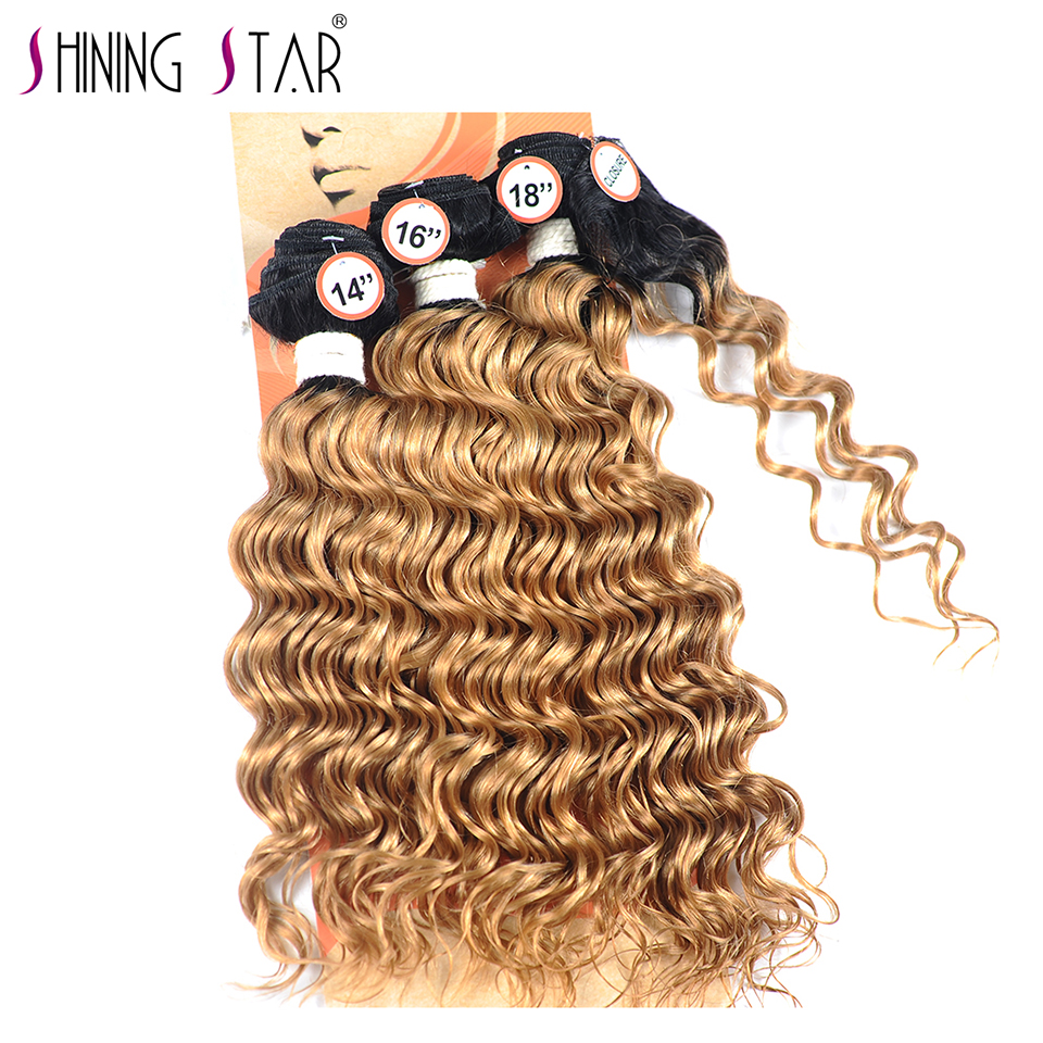 T1B 27 Brazilian Deep Wave 3 Bundles With Closure Ombre Honey Blonde Bundles With Closure Human