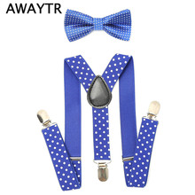 AWAYTR 2Pcs Baby Boys Suspenders Kids New Elastic Adjustable Suspenders with Bowtie Set Children Polka Dot Suspender for Wedding