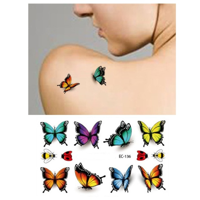 Temporary Tattoos Body Art Amazing 3D Butterfly Flash Tattoo Sticker 3pcs Waterproof Henna Tattoo Style Tatto Sex Product