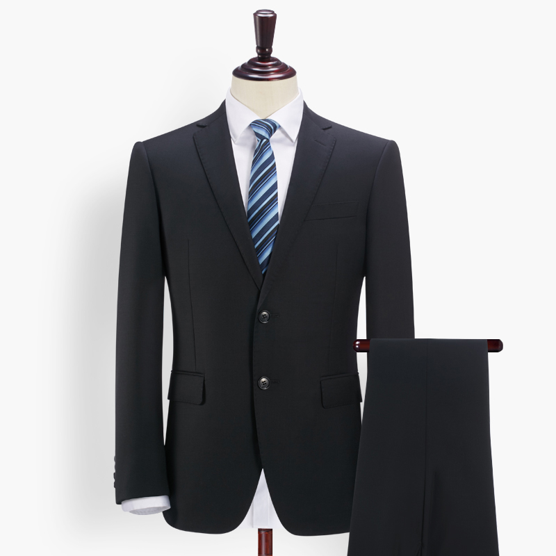 Brand Suit Wedding Suits For Men Clothing 70% Wool Slim Gentle Men Blue Grey Black Suits 2pcs Set Formal Jacket + Pant Groom