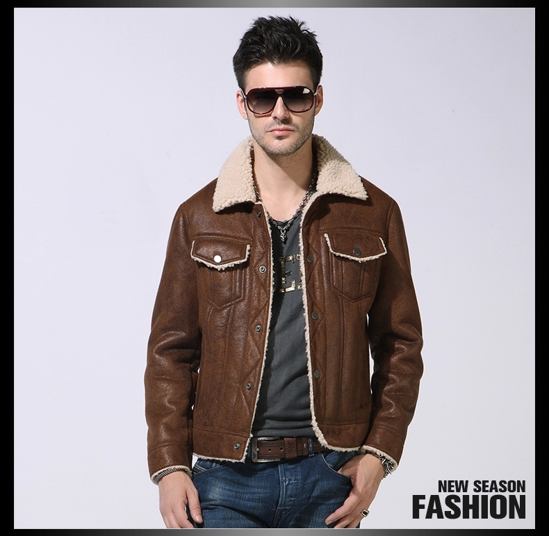 2015 Faux Fur New Fur Faux Leather jacket Short paragraph Turndown Locomotive Leather clothing Men's Jacket Coat