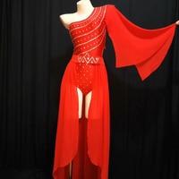Jazz Costume Rhinestone Bodysuits Clothing Bar Costume Women Dj Female Singers Dress Stage Nightclubs DS Show Performance DJ372