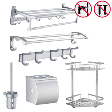 Nail Free Bathroom Shelf Set Toilet Paper Holder Towel Bar Bath Towel Racks Bathroom Hooks Toilet brush Bar Bathroom Accessories