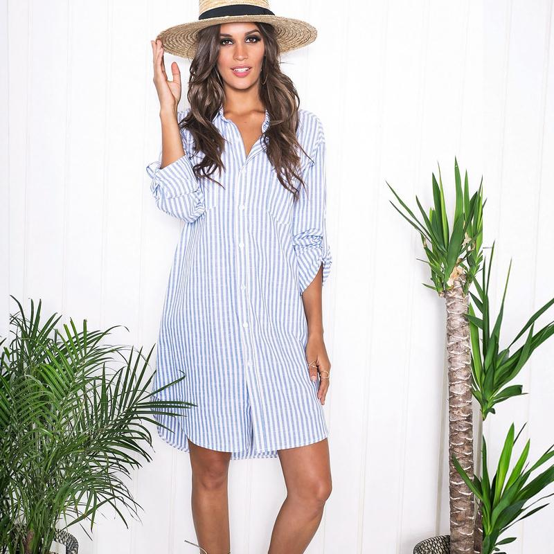 New Arrival Autumn Women Long Sleeve T Shirt Dress 2015 Blue Striped Casual  Loose Work Dress Robe Sexy Plus Size Women Clothing-in Dresses from Women s  ... 6af36969f