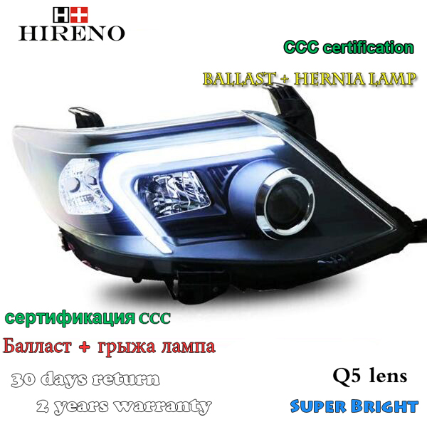 Hireno Headlamp for 2011-2015 Toyota Fortuner Headlight Assembly LED DRL Angel Lens Double Beam HID Xenon 2pcs 2pcs purple blue red green led demon eyes for bixenon projector lens hella5 q5 2 5inch and 3 0inch headlight angel devil demon