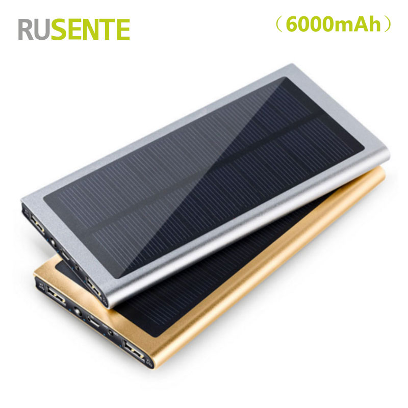 High quality Outdoor sports Dual USB 6000mah solar power bank External battery Charger for iPhone Samsung HTC etc
