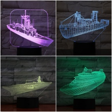 Warship Led Night Light Decoration 3d Illusion Military Ship Childrens Kids Nightlight Gifts Table Lamp Aircraft Carrier Bedroom