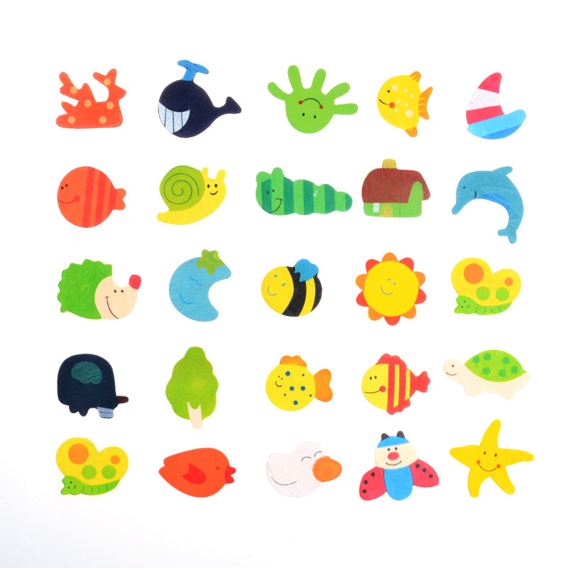 12 Pcs set Baby Toys Cartoon Animal Refrigerator Fridge Magnets Figures Sticks Montessori Education Model Toy for Children Kids