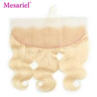 Mesariel Remy Hair 613 Brazilian 13x4 Lace Frontal Free Part Honey Blonde 100% Human Hair Body Wave Lace Frontal Closure